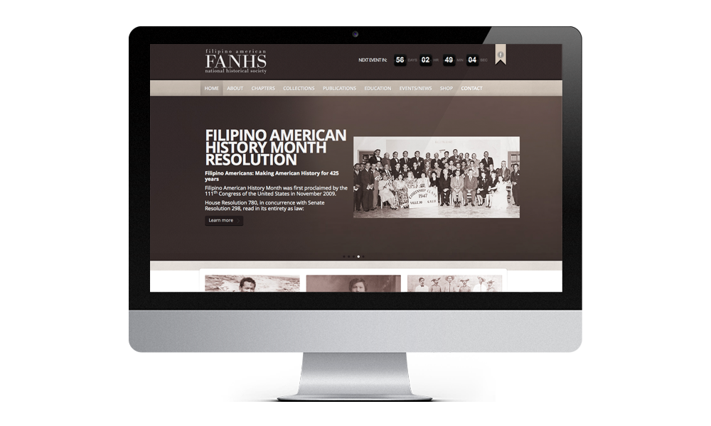 FANHS filipino american national historical society web interface design layout