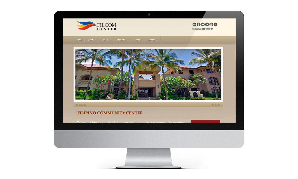 hawaii filcom center web interface design layout